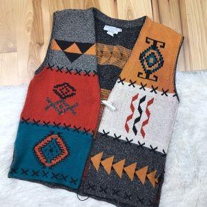 Vintage Aztec Embroidered Sweater Vest